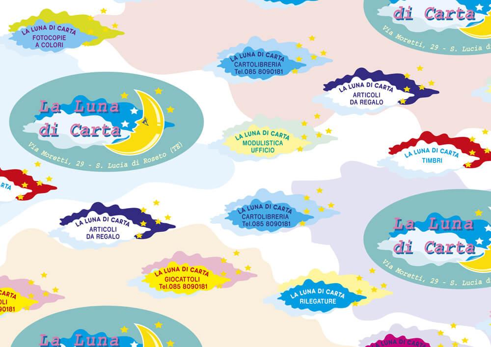 Carta patinata - carta da pacchi personalizzata con logo LA LUNA DI CARTA