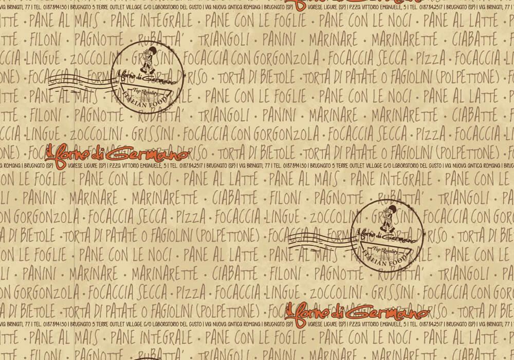 Papier polyéthylène personnalisée sur mesure pour emballage avec logo IL FORNO DI GERMANO