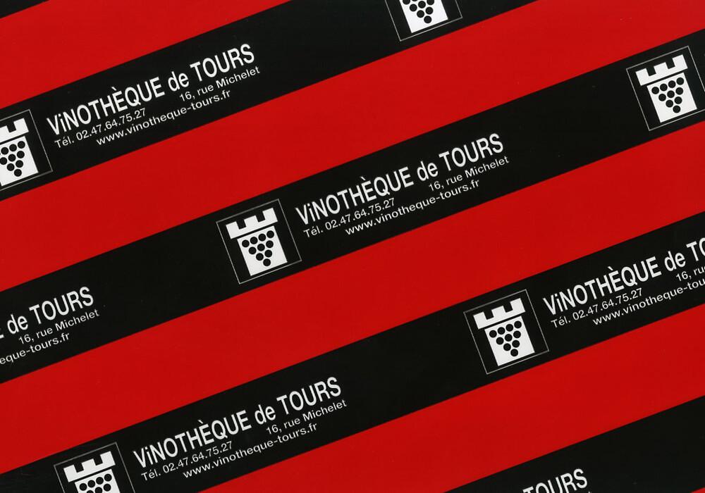 Papier plastifié personnalisée sur mesure pour emballage avec logo VINOTHEQUE DE TOURS